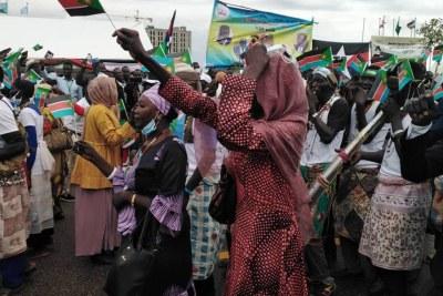 Célébration de l'accord de paix à Juba, au Soudan du Sud , le 3 octobre, 2020.
