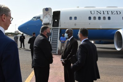 United States Secretary of State Michael Pompeo leaves Sudan on August 25, 2020 after a visit to the country.
