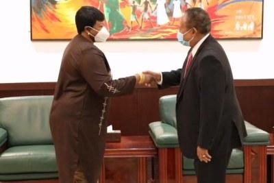 International Criminal Court Prosecutor Fatou Bensouda meeting Sudanese Prime Minister Abdalla Hamdok in Khartoum