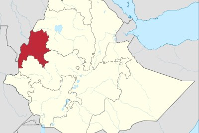 Une carte montrant l'emplacement de la région de Benishangul-Gumuz en Ethiopie