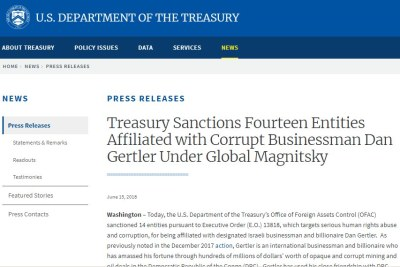 The U.S. Treasury announces sanctions on Dan Gertler in 2018.