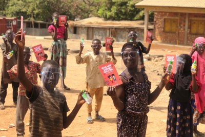 Children at the internally displaced persons (IDP) Durumi camp in Abuja during the distribution of COVID-19 safety packs as part of the Mastercard Foundation COVID-19 Recovery and Resilience program.