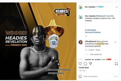 Fireboy leads pack of winners At 14th Headies.