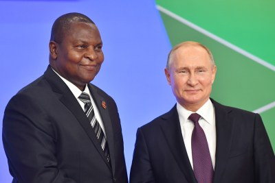 President of Central African Republic Faustin Archange Touadéra, left, and Russia's President Vladimir Putin (file photo).