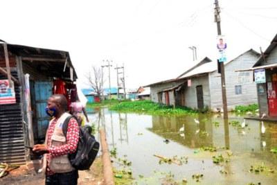 A flooded neighbourhood at Lambu Landing Site in Masaka District (file photo).