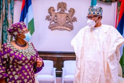 Ngozi Okonjo-Iweala meets President Muhammadu Buhari during an official visit on March 15, 2021.