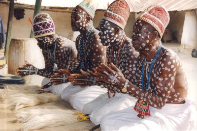 Obatala priests in their temple in Ife.