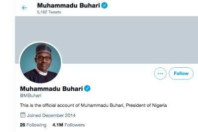 Twitter removes Nigerian president's 'abusive' civil war post.