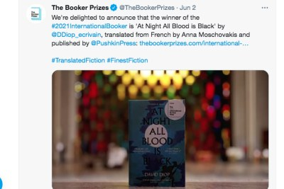 The announcement that David Diop won the International Booker prize.