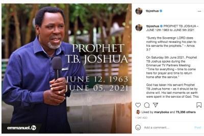 Church gives insight into T.B. Joshua's last moments.