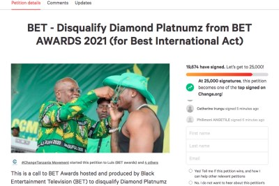 Petition for Diamond Platnumz to be disqualified from BET Awards 2021.
