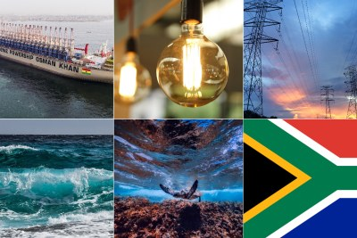 Karadeniz powership Osman Khan, top left, energy sources, sea life, South African flag, bottom right