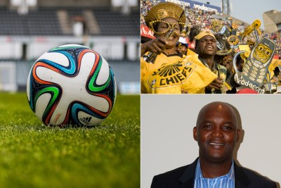 Kaizer Chiefs fans, top right and Al Ahly coach Pitso Mosimane.