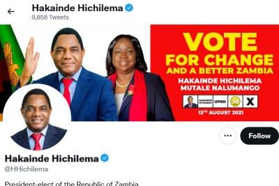 Hakainde Hichilema's Twitter account, August 16, 2021.
