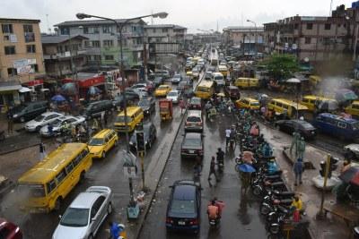 Traffic in Lagos (an east view of the Ojuelegba bridge, Yaba).