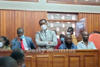 Charged. Kawempe North MP Muhammed Ssegirinya and the Makindye West legislator Allan Ssewanyana appear before Masaka Chief Magistrate's Court on September 7, 2021.