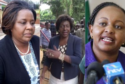 The only women to have occupied the office (from left) Joyce Laboso, former Bomet Governor, who died in office, Kitui County boss Charity Ngilu and her Kirinyaga counterpart Anne Waiguru (file photo).