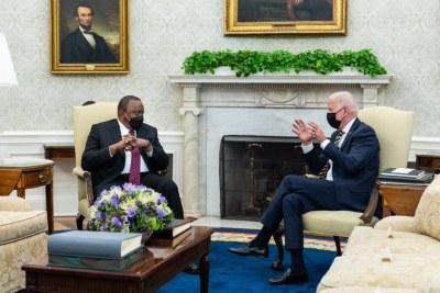 United States president Joe Biden meets Kenyan president Uhuru Kenyatta at the White House on October 14, 2021.
